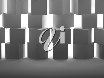 Abstract white cubes wall installation with back lit illumination. 3d rendering illustration