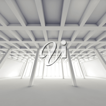 Abstract architecture background with perspective view of empty white room, square 3d illustration
