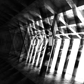 Abstract square dark room interior, 3d background with multi exposure effect