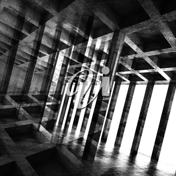 Abstract square dark concrete room interior, 3d background with multi exposure effect