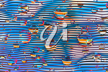 Abstract colorful illustration with water drops on waved background
