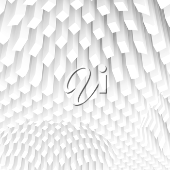 Abstract square digital background with curved surface formed by white columns array, 3d illustration