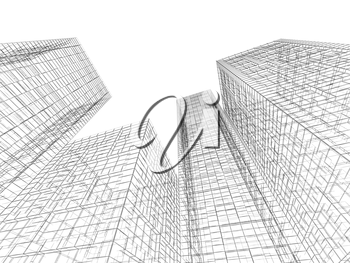 Abstract digital graphic background. Tall buildings perspective view, black wire frame lines isolated on white background. 3d render illustration