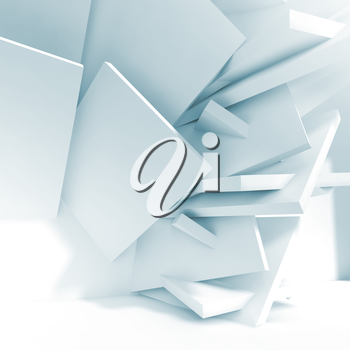Abstract white interior background, installation of chaotically square blocks near wall of empty room. Blue toned 3d illustration, computer graphic