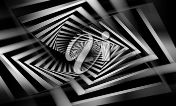 Abstract black and white spirals pattern, cg optical illusion, 3d illustration