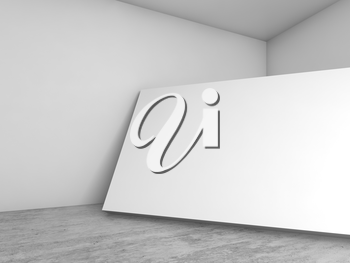 Abstract empty white interior background, blank banner stands in the corner, contemporary architecture design. 3d illustration