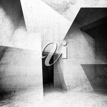 Abstract concrete interior background, intersected walls and girders, square illustration with double exposure effect, 3d render