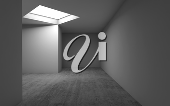 Abstract contemporary architecture, empty room interior background. Concrete floor, white walls and square ceiling light window. 3d render illustration