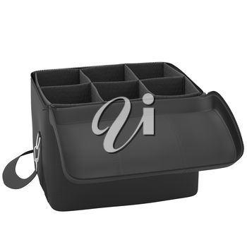 Open black luggage for a trip on a white background