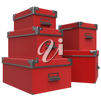 Boxes are on each other, metal corners with rivets. Red box, chrome handles. 3D graphic object on white background isolated