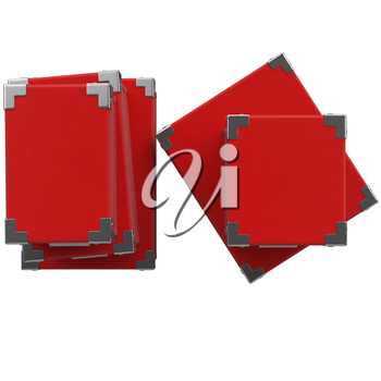 Gift red box top view of various sizes. 3D graphic object on white background isolated