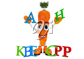 Carrot character with vitamins. Orange carrots with letters white background