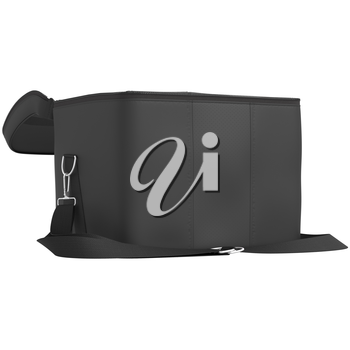 Open leather luggage with a black belt on a white background