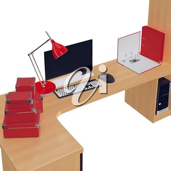 Light wood office table on which are placed paper boxes, lamp and folders all in red color. 3d graphic object on white background isolated