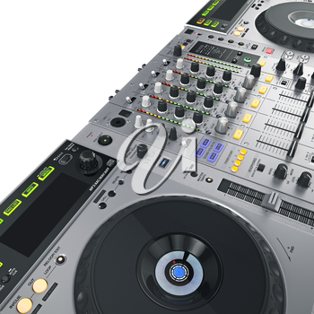 High-quality sound professional dj set on white background. 3D graphic