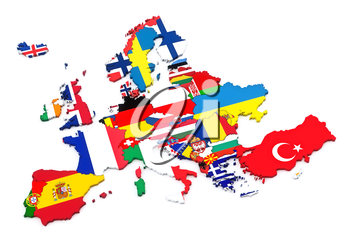 Countries of Europe. European flags. White background