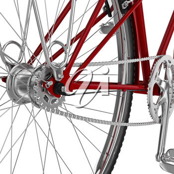 Chrome bicycle sprocket gear shift classic red bicycle. 3D graphic object on white background