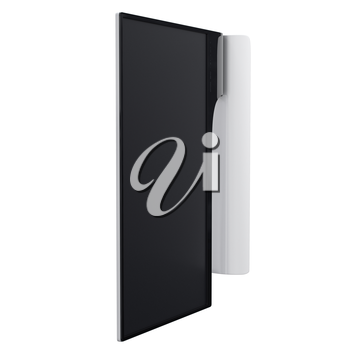 Ultrathin widescreen monitor made of black polished plastic and white metal and with touchable buttons. 3d graphic object on white background isolated