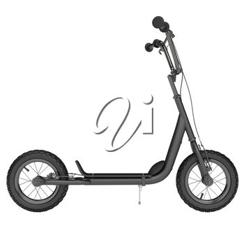 Black Kick scooter in a new style on a white background