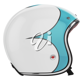 Motorcycle helmet turquoise white. Motorcycle helmet old-fashioned. Helmet left view.
