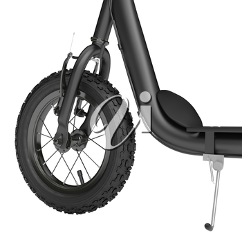 Spike wheel scooter with hand brakes on a white background