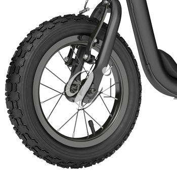 Inflatable rubber wheel scooter with nipple on a white background