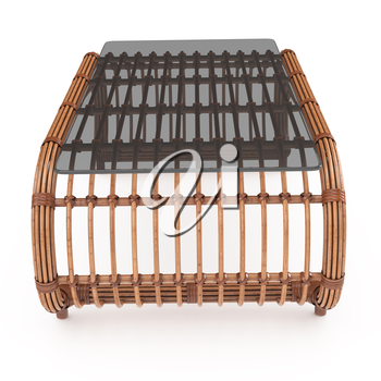Rattan table to rattan furniture on white background isolated with glass. 3D graphics