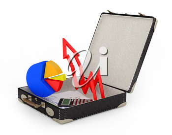 Business graph. Business suitcase. Graph in a suitcase white background