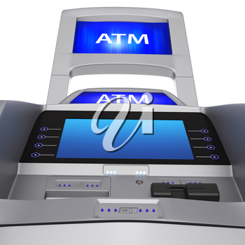 The terminal display and modern style. ATM for cash settlement services on a white background