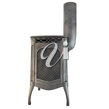Fireplace side view of a fire on a white background isolated side view. 3D graphics
