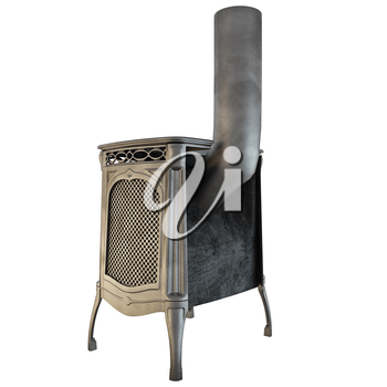 Rear view of the fireplace with a pipe on a white background isolated. 3D graphics