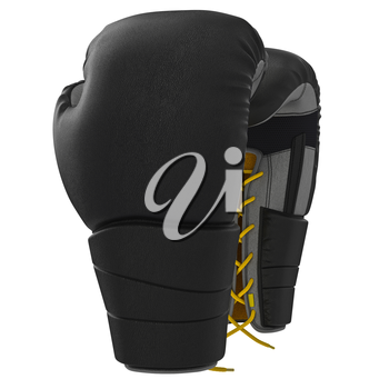 Black leather boxing gloves. 3D graphic object on white background isolated