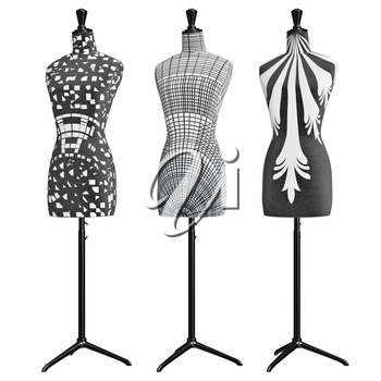 Matte black and white mannequins on adjustable feet. 3D graphic object on white background isolated