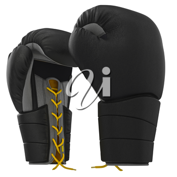 Boxing gloves with gray accents. 3D graphic object on white background isolated