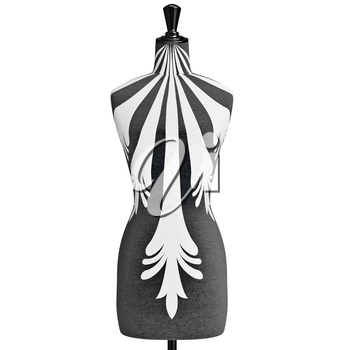 Female mannequin with a black and white patterned elements, zoomed view. 3D graphic object on white background