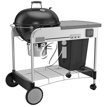 Grill with ash collection system. 3D graphic object on white background isolated