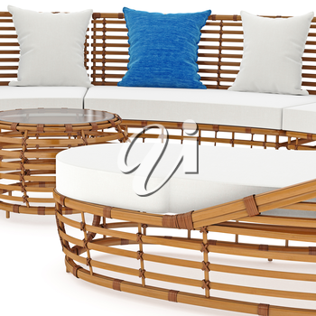 Sofa with thick rattan, zoomed view. 3D graphic object on white background