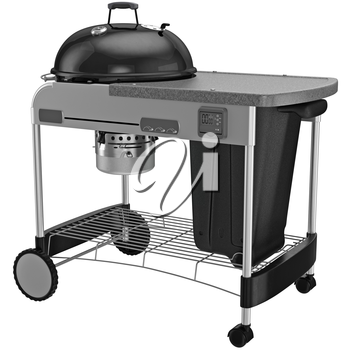 Barbecue charcoal with metal ventilation flap. 3D graphic object on white background isolated