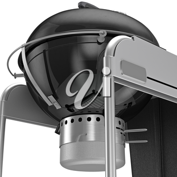 Charcoal Grill with metal boiler and blower system, close view. 3D graphic object on white background