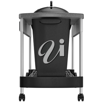 Charcoal grill with a container for storing coal, front view. 3D graphic object on white background isolated