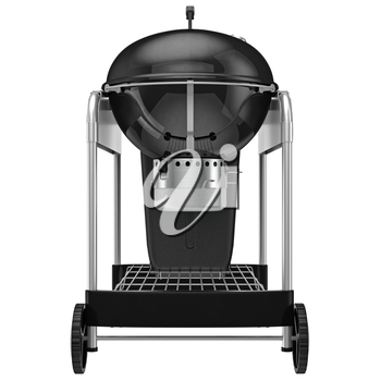 Grill with a system of regulation and collection of ash, back view. 3D graphic object on white background isolated