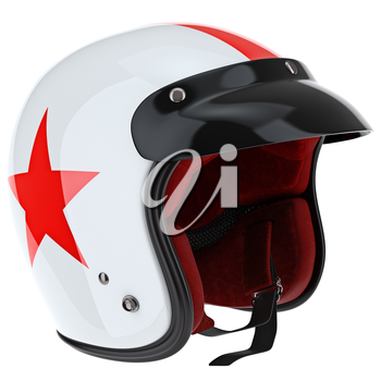 Protective glossy white helmet with red asterisk. 3D graphic object on white background isolated