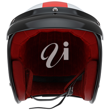 Sports motorcycle helmet with visor front view. 3D graphic object on white background isolated
