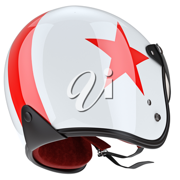 Modern glossy sports helmet with rubber surround. 3D graphic object on white background isolated