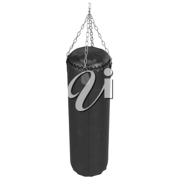 Hanging punching bag with leather straps. 3D graphic object on white background isolated