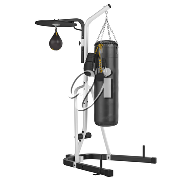 Set punching bag with gloves. 3D graphic object on white background isolated