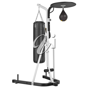 Stand with gloves and punching bag. 3D graphic object on white background isolated