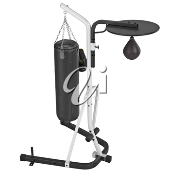 Punching bag and stand. 3D graphic object on white background isolated