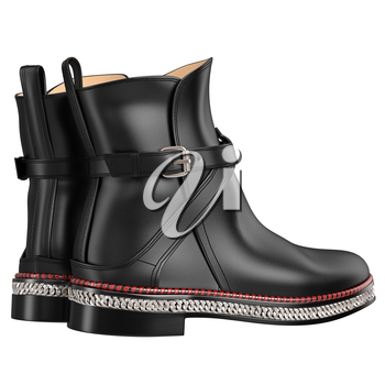 Exclusive black leather boots. 3D graphic object on white background isolated