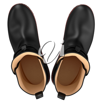Black leather boots, top view. 3D graphic object on white background isolated